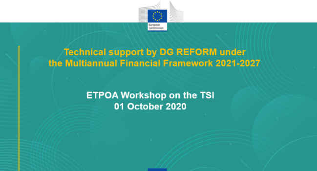 ETPOA webinar on TSI/SRSP: The Structural Reform Instrument